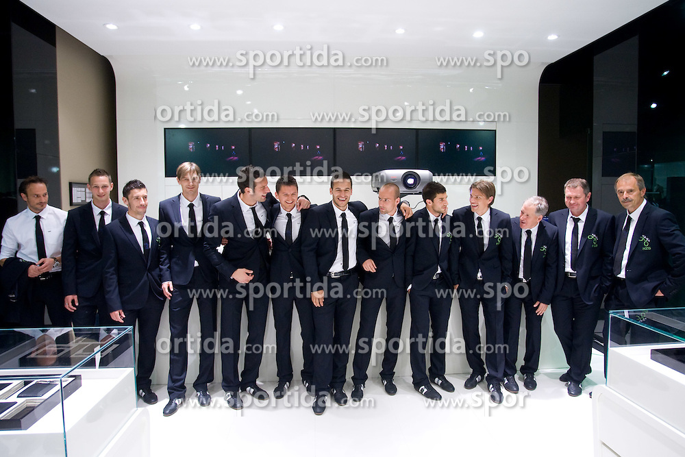 Nihad Pejkovic, Tim Matavz, Robert Koren, Milivoje Novakovic, Samir Handanovic, Andraz Kirm, Zlatan Ljubijankic, Miso Brecko, Bojan Jokic, Zlatko Dedic, Milan Miklavic, Matjaz Kek and Bostjan Gasser of Slovenian National Football team at presentation of  official Dirk  Bikkembergs fashion collection, on May 20, 2010 in Ciytpark, BTC, Ljubljana, Slovenia. (Photo by Vid Ponikvar / Sportida)