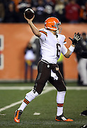 Cleveland Browns quarterback Brian Hoyer (6) throws a pass during the NFL week 10 regular season football game against the Cincinnati Bengals on Thursday, Nov. 6, 2014 in Cincinnati. The Browns won the game 24-3. ©Paul Anthony Spinelli