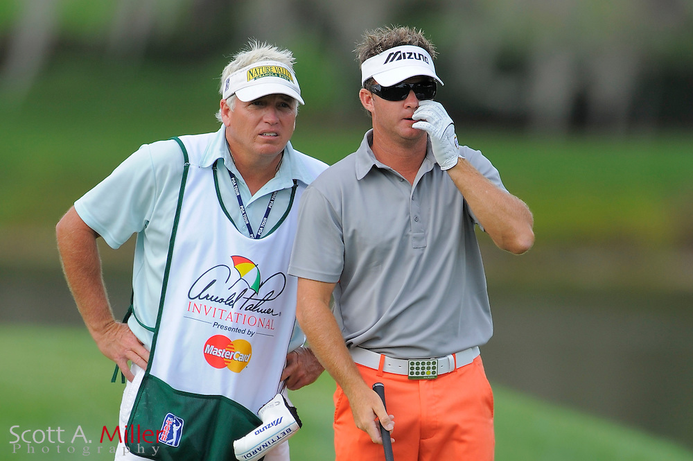 March 26, 2009; Orlando, FL, USA;  Brian Gay and his caddie on the 16th hole during the first round of the Arnold Palmer Invitational at the Bay Hill Club and Lodge. ©2009 Scott A. Miller