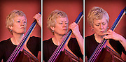A series of 3 images (triptych) of Alison Rayner playing the double bass with the Deirdre Cartwright Group.