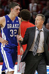 07 January 2015:   Kory Kuenstling and Ray Giacoletti chat as they walk off the floor at halftime during an NCAA MVC (Missouri Valley Conference) men's basketball game between the Drake Bulldogs and the Illinois State Redbirds at Redbird Arena in Normal Illinois.  Illinois State comes out victorious 81-45.
