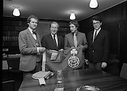 Taoiseach Receives Irish Arctic Expedition.  (N63)..1981..25.02.1981..02.25.1981..25th February 1981..Prior to their departure to Resolute Bay, Canada, the Irish Arctic Expedition paid a courtesy visit to An Taoiseach, Mr Charles Haughey at Government Buildings...Image shows An Taoiseach, Charles Haughey, examining the flag which the expedition will take with them to the Arctic.The group consists of (L-R), Mr Danny Osbourne, Castletownbere, Co Cork; Dr Gerry Wardell, Limerick and Mr John O'Mara ,Dublin.