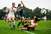 10/3/12 - Medford/Somerville, Mass. Tufts forward Allie Weiller, A16, narrowly avoids a collision during the Jumbos' 4-0 victory over Suffolk University on Wednesday, October 3, 2012 . Alonso Nichols/Tufts University