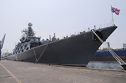 May 24, 2017 - Jakarta, Jakarta, Indonesia - Russian troops vigil around the warship Commander Veryag at port of Tanjung Priok, Jakarta On May 24, 2016. leaned a long warship 186.4 meters, with 510 crew to strengthen the Indonesian and Russian military ties . And open to the public to the citizens of Jakarta to see the warships. (Credit Image: © Dasril Roszandi/NurPhoto via ZUMA Press)