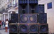 A large stack of speakers. Notting Hill Carnival, 2004.