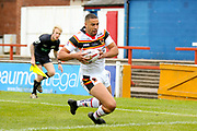 Bradford Bulls winger Omari Caro (18) scores a try to make the score 0-10 during the Kingstone Press Championship match between Sheffield Eagles and Bradford Bulls at, The Beaumont Legal Stadium, Wakefield, United Kingdom on 3 September 2017. Photo by Simon Davies.