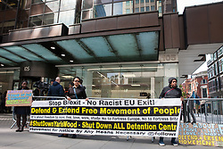 London, UK. 30th April 2019. Activists from Movement for Justice calling for freedom of movement protest outside Labour Party HQ as Labour Party NEC members arrive for a meeting to confirm plans for Labour's EU election manifesto, including its stance with regard to a second referendum.