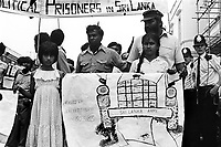 Tamils protesting in London. Anti-Tamil riots in Shri Lanka led to the deaths of several hundred Tamils and marked  beginning of First Eelam War.
