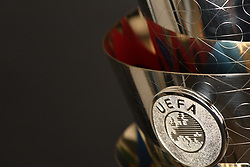 LAUSANNE, SWITZERLAND - Wednesday, January 24, 2018: The new UEFA Nations League trophy, with a design that is inspired by the UEFA Nations League Logo, a first for a UEFA competition. The flag that represents all 55 UEFA national associations, who will be competing. The trophy is entirely made of sterling silver and on the inside carries the competition colours, during the draw for the new UEFA Nations League tournament at the SwissTech Convention Centre. (Pic by UEFA/Pool/Propaganda)