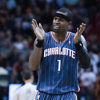19 November 2010: Charlotte Bobcats' shooting guard #1 Stephen Jackson reacts during the Miami Heat 95-87 victory over the Charlotte Bobcats at the AmericanAirlines Arena, Miami, Florida, USA.