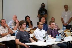 Andraz Spora, Marcos Tavares and Ladislav Stanko at PrvaLiga draw before new football season 2011/2012 in Slovenia, on June 23, 2011, in Hotel Kokra, Brdo pri Kranju, Slovenia. (Photo by Vid Ponikvar / Sportida)