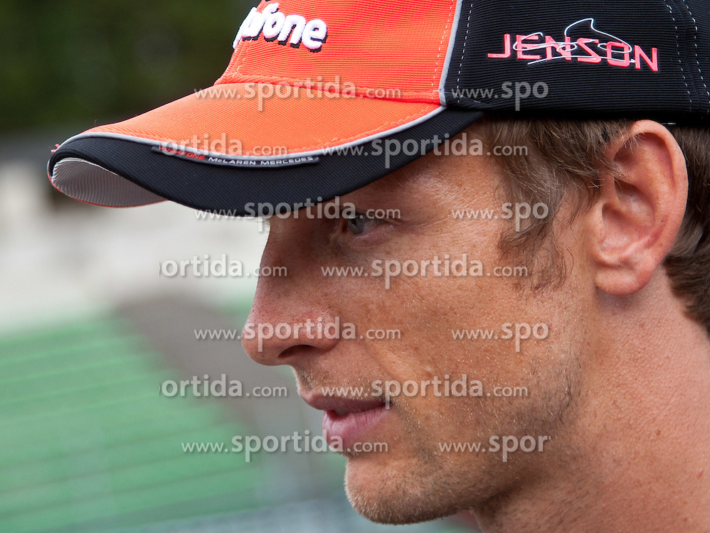 25.08.2011, Circuit de Spa, Francorchamps, BEL, F1, Grosser Preis von Belgien, im Fahrerlager, im Bild Jenson Button (GBR), McLaren-Mercedes gibt Interview // at Paddock during circuit inspection at Formula One Championships 2011 Belgian Grand Prix held at the Circuit de Spa, Francorchamps, Belgium, 25/8/2011, EXPA Pictures © 2011, PhotoCredit: EXPA/ J. Groder