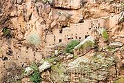 TALIOUINE, MOROCCO - OCTOBER 25TH 2015 - The exterior of the Tizgui Granary (Agadir Tizgui), Taliouine province, Souss Massa Draa, Southern Morocco.