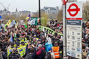 UNITED KINGDOM, London: 16 April 2019 <br /> Protesters and police clash on Waterloo Bridge as Extinction Rebellion protests continue. It is the second day of protests that have appeared in five locations across the city. Police officers have made more than 120 arrests in the last 24 hours.<br /> Rick Findler / Story Picture Agency