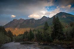 Kaleetan Peak Dusk, Middle Fork of the Snoqualmie River, Mt. Baker Snoqualmie National Forest, Washington, US