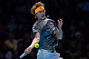 Alexander 'Sasha' Zverev of Germany in action during the Nitto ATP Finals at the O2 Arena, London, United Kingdom on 13 November 2019.