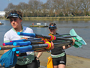 London, Great Britain, CUWBC, crew carry Oars, Blades, BNY Mellon, University Women's Boat Race Tideway Week, Putney to Mortlake. ENGLAND. <br /> <br /> Tuesday   07/04/2015<br /> <br /> [Mandatory Credit;Intersport-images]