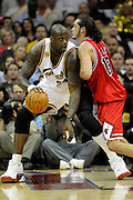Apr 19, 2010; Cleveland, OH, USA; Cleveland Cavaliers center Shaquille O'Neal (33) faces-off against Chicago Bulls center Joakim Noah (13) during the third period in game two in the first round of the 2010 NBA playoffs at Quicken Loans Arena. The Cavaliers beat the Bulls 112-102. Mandatory Credit: Jason Miller-US PRESSWIRE