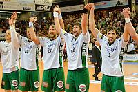 Schlussjubel der Frisch Auf Spieler, v.r.n.l. Tim Kneule, Momir Rnic, Pavel Horak, Dalibor Anusic  (alle FAG)