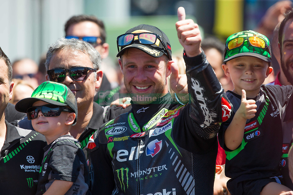 July 7, 2018 - Misano, RN, Italy - Jonathan Rea of Kawasaki Racing Team celebrate with his sons the victory of race 1 of the Motul FIM Superbike Championship, Riviera di Rimini Round, at Misano World Circuit ''Marco Simoncelli'', on July 07, 2018 in Misano, Italy  (Credit Image: © Danilo Di Giovanni/NurPhoto via ZUMA Press)