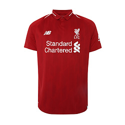 LIVERPOOL, ENGLAND - Thursday, April 19, 2018: A hand-out image from Liverpool Football Club of their new 2018-19 season kit designed by New Balance with a tipped two-button polo collar. (Pic by Pool/Liverpool Football Club via Propaganda)