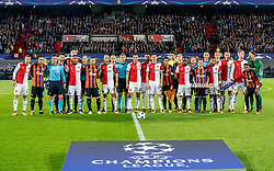 17-10-2017 NED, UEFA CL, Feyenoord - FC Shakhtar Donetsk, Rotterdam<br /> UEFA Champions League Round of 16, 3rd Leg match between Feyenoord vs. Donetsk at the stadion DE Kuip in Rotterdam / Teamfoto Feyenoord samen met Shakhtar Donetsk