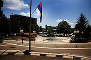 Serbian flag in central square of Kosovska Mitrovica...Mitrovica, Kosovo, Serbia.