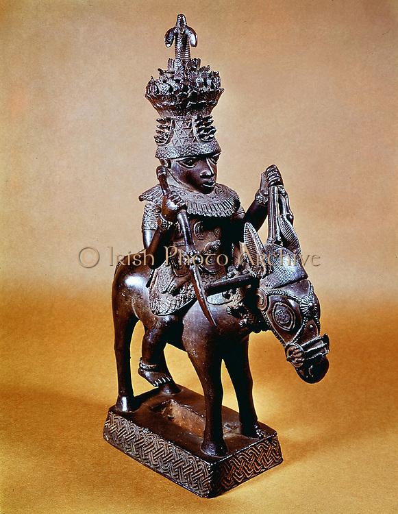 Benin bronze of horse and rider. British Museum