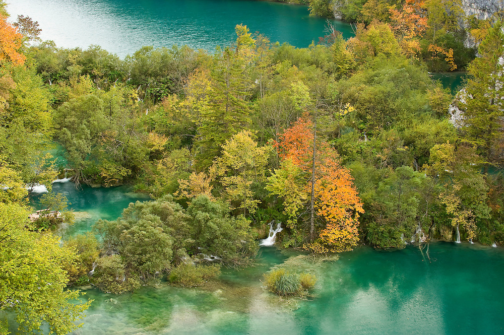 View on Lower Lakes in autumn, Plitvice National Park, Croatia