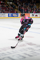 KELOWNA, CANADA - OCTOBER 21: Kole Lind #16 of the Kelowna Rockets skates with the puck over the blue line against the Portland Winterhawks on October 21, 2017 at Prospera Place in Kelowna, British Columbia, Canada.  (Photo by Marissa Baecker/Shoot the Breeze)  *** Local Caption ***