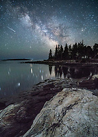 I was lucky enough to capture a shooting star during a night of photographing at Reid State Park in Georgetown. I found a wonderful vantage point looking south over the rocky shoreline and towards a beautiful cove and stand of trees on the shoreline.