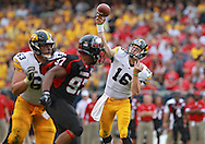 September 01 2012: Iowa Hawkeyes quarterback James Vandenberg (16) throws the ball during the second half of the NCAA football game between the Iowa Hawkeyes and the Northern Illinois Huskies at Soldiers Field in Chicago, Illinois on Saturday September 1, 2012. Iowa defeated Northern Illinois 18-17.
