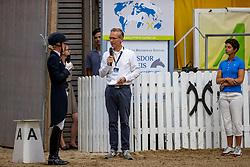 FRENZEN Dr. Annabel (GER), L´estprit 3, TOENJES Jan (Moderation), THEODORESCU Monica (Bundestrainer)<br /> Louisdor Preis <br /> Nachwuchspferde Grand Prix - Finalqualifikation<br /> Verden - Verdener Championate 2020<br /> 09. August 2020<br /> © www.sportfotos-lafrentz.de/Stefan Lafrentz