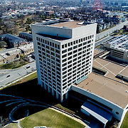 Kansas City (Missouri) Federal Reserve Bank building; daytime aerial view.