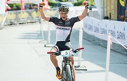 Gregor Dimic reacts at finish line during Cross Country XC Mountain bike race for Slovenian National Championship in Kamnik, on July 12, 2015 in Kamnik,  Slovenia. Photo by Vid Ponikvar / Sportida