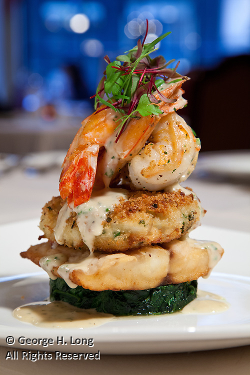 Sauteed seafood platter; Food and drinks at the Rib Room; Omni Royal Orleans Hotel New Orleans