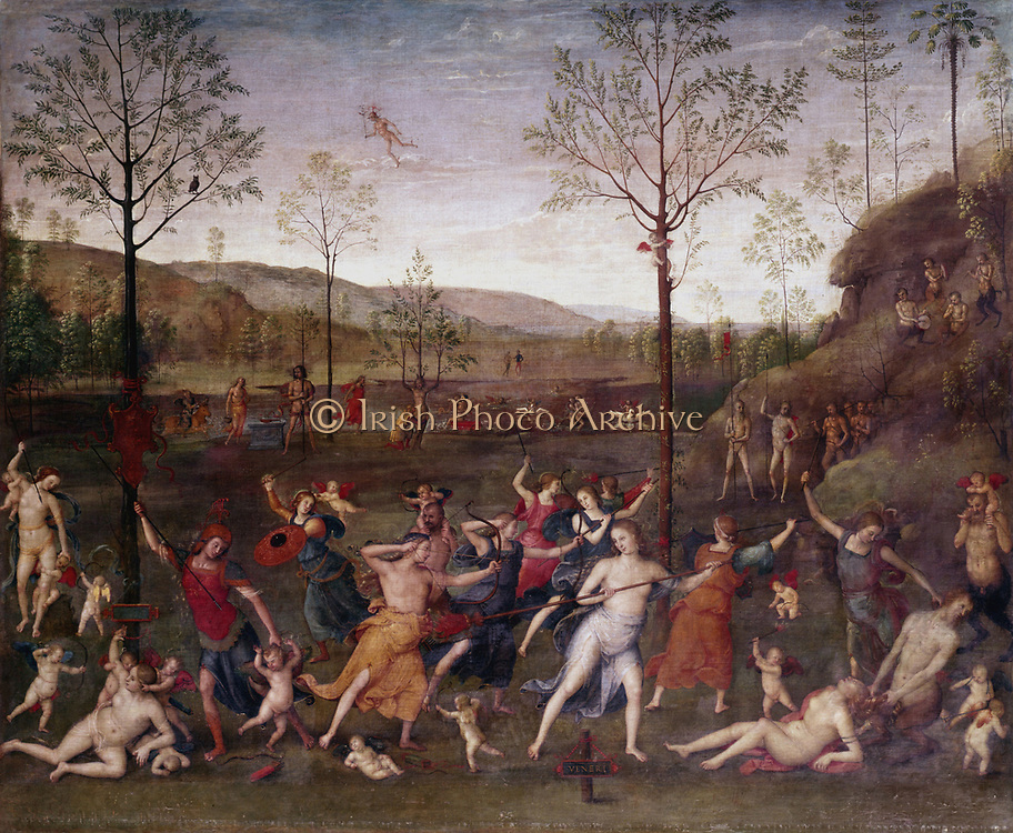 Struggle between Chastity and Lust.  Pietro Perugino (1448-1523) Italian artist. Oil on canvas.