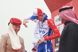 March 1, 2019 - Jebel Jais, United Arab Emirates - David Gaudu of France and Team Groupama-FDJ in the White Jersey of Best Young Rider, at the podium at the end of the sixth Rak Properties Stage of UAE Tour 2019, ahead of Tom Dumoulin (Sunweb Team), a 180km with a start from Ajman and finish in Jebel Jais. .On Friday, March 1, 2019, in Jebel Jais, Ras Al Khaimah Emirate, United Arab Emirates. (Credit Image: © Artur Widak/NurPhoto via ZUMA Press)