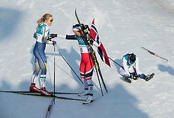 February 25, 2018 - Pyeongchang, South Korea - Gold medal winner Marit Bjoergen of Norway hugs bronze medal winner Stina Nilsson of Sweden and silver medal winner Krista Parmakoski of Finland, sits not he ground at the finish line during the Ladies Cross Country Skiing Mass Start 30k at the PyeongChang 2018 Winter Olympic Games at Alpensia Cross-Country Skiing Centre on Sunday February 25, 2018. .Marit Bjoergen won the eighth gold medal of her career in the ladies' 30km mass start classic, the final event of the Games. After another multi-medal haul here, the illustrious veteran of five Games leaves PyeongChang as the most decorated Winter Olympian in history with a total of 15 medals: she has four silver and three bronze as well as her eight gold. (Credit Image: © Paul Kitagaki Jr. via ZUMA Wire)