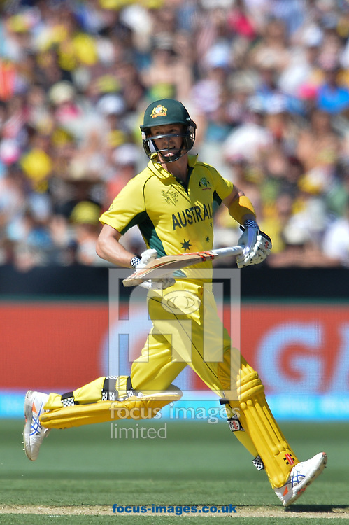 George Bailey of Australia runs after a shot during the 2015 ICC Cricket World Cup match at Melbourne Cricket Ground, Melbourne<br /> Picture by Frank Khamees/Focus Images Ltd +61 431 119 134<br /> 14/02/2015