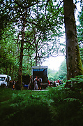 Raver vehicles parked in a forest, Wales 2012