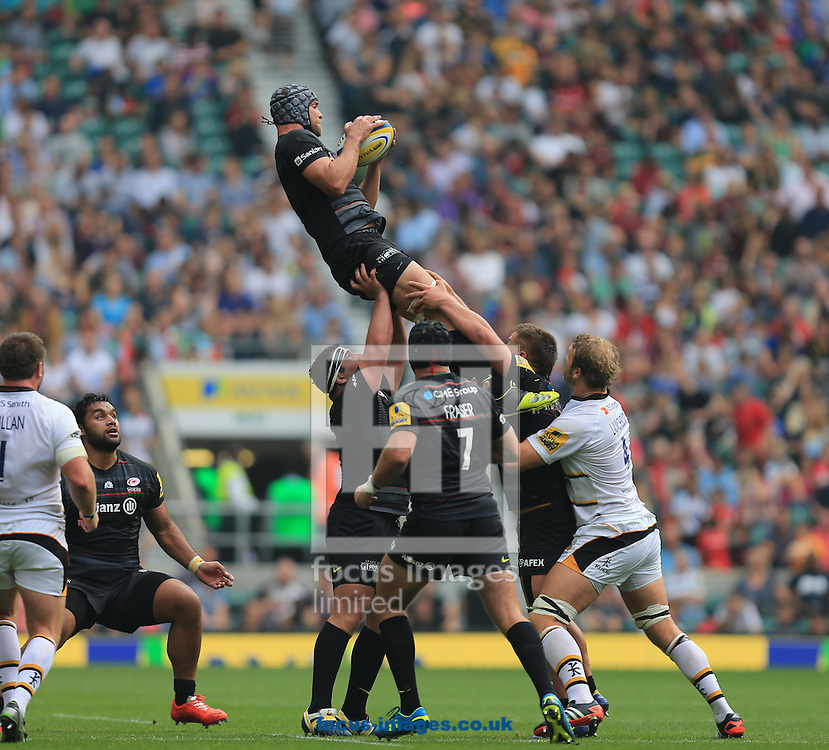 Al Hargeaves of Saracens during the Aviva Premiership match at Twickenham stadium, London<br /> Picture by Michael Whitefoot/Focus Images Ltd 07969 898192<br /> 06/09/2014