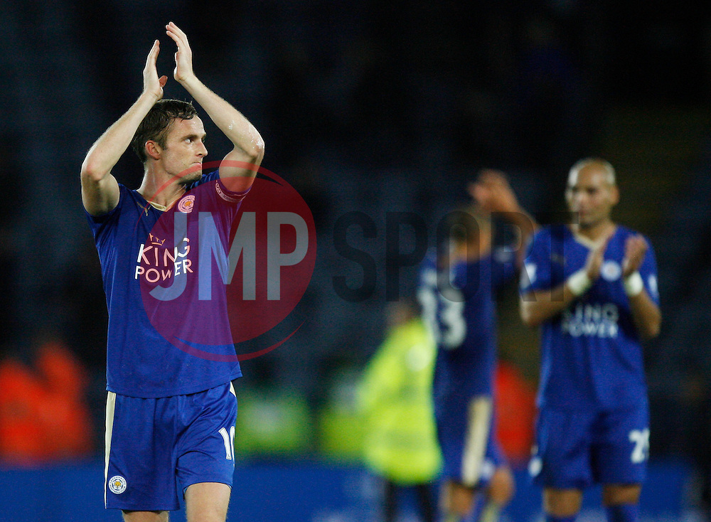 Andy King of Leicester City applauds the fans at the final whistle  - Mandatory byline: Jack Phillips/JMP - 07966386802 - 22/09/2015 - SPORT - FOOTBALL - Leicester - King Power Stadium - Leicester City v West Ham United - Capital One Cup Round 3