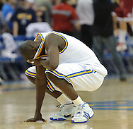 Senior guard Darren Collison expresses his frustration following the No. 20 UCLA Bruins' 82-81 loss to the Washington State Cougars in Pauley Pavilion in Los Angeles on Saturday, Feb. 21, 2009. The Cougars have only won two games in Pauley Pavilion all-time.