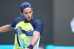 BEIJING , Oct. 1, 2018  Feliciano Lopez of Spain hits a return during the men's singles first round match against Borna Coric of Croatia at China Open tennis tournament in Beijing, China, Oct. 1, 2018. Feliciano Lopez won 2-1. (Credit Image: © Song Yanhua/Xinhua via ZUMA Wire)