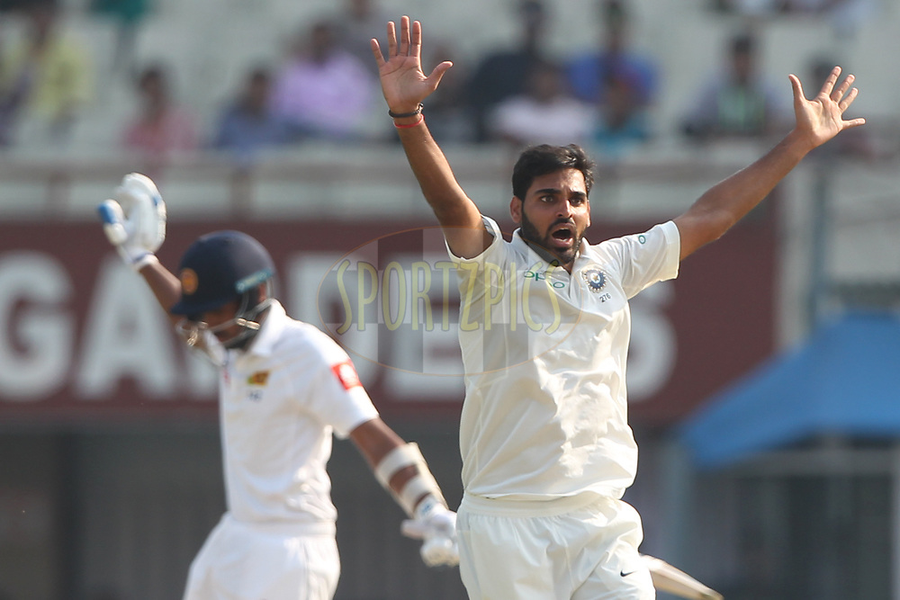 Bhuvneshwar Kumar of India appeals during day five of the 1st test match between India and Sri Lanka held at Eden Gardens Stadium in Kolkata on the 20th November 2017<br /> <br /> Photo by Deepak Malik / BCCI / Sportzpics