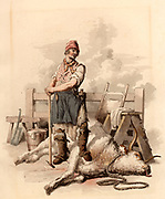 The Slaughterman.  The ox has been killed by blows of the pole-axe to the head.  The slaughterman leans on the pole-axe after the exertion of killing the beast.  A steel for sharpening his tools hangs from his waist.  A cleaver leans against a stool on the left,  and a butcher's tray leans against the hitching rail on centre right.  From 'Costume of Great Britain' by William Henry Pyne (London, 1808). Aquatint.