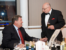 CARDIFF, WALES - Tuesday, October 7, 2008: Wales' manager John Toshack with FAW President Peter Rees at the Brains Beer Wales Football Awards at the Millennium Stadium. (Photo by David Rawcliffe/Propaganda)