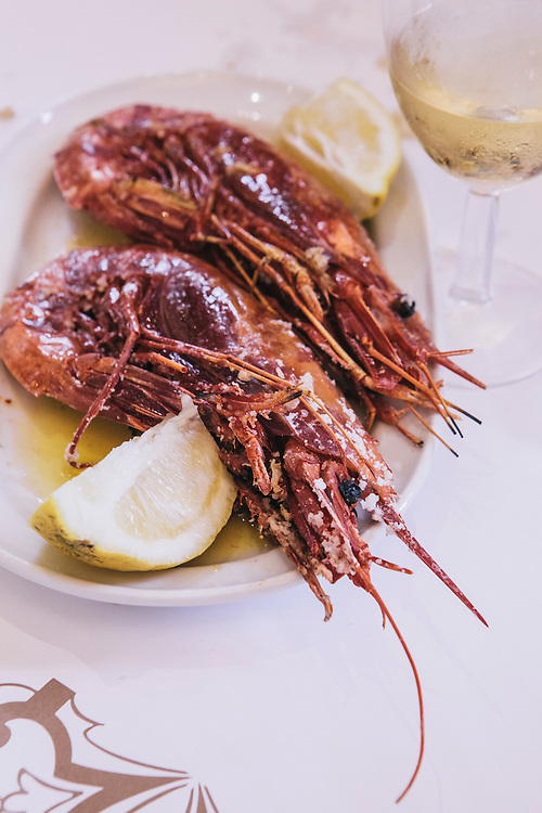 Giant scarlet prawns at Cervejaria Ramiro, Lisbon