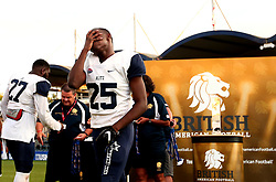 London Blitz cuts a dejected figures after Match being beaten in the BAFA Britbowl National League Finals 2017 - Mandatory by-line: Robbie Stephenson/JMP - 26/08/2017 - AMERICAN FOOTBALL - Sixways Stadium - Worcester, England - Tamworth Phoenix v London Blitz - BAFA Britbowl National League Finals 2017